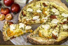 Ніжний тарт з томатами й шинкою — хрустка піца на пісочному тісті
